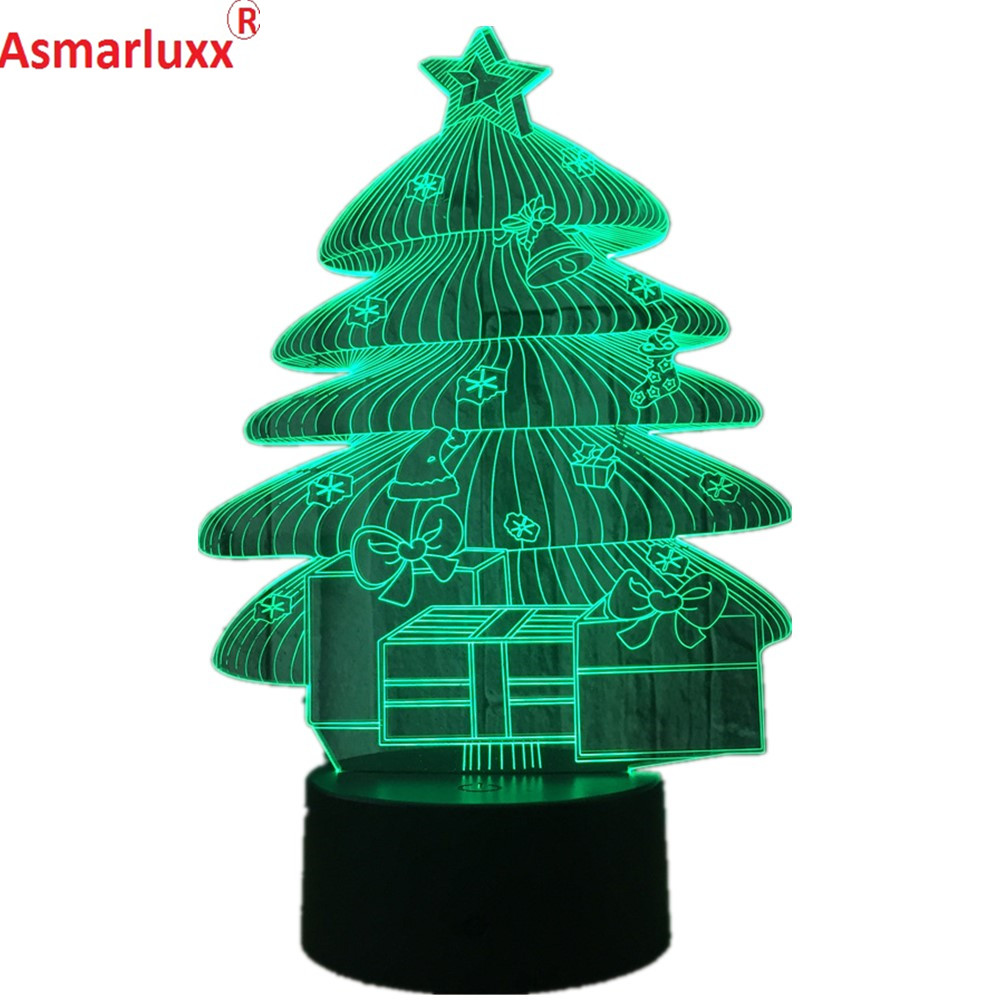 Christmas Tree 3D LED Lamp Atmosphere Lamp USB Night Light Touch ...