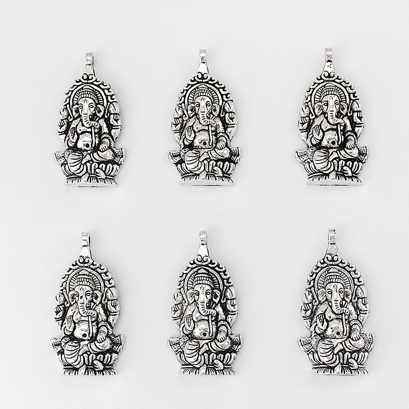2pcs Angel Religious Charm Tibetan Silver Beads Finding Jewellery Making 37x37mm