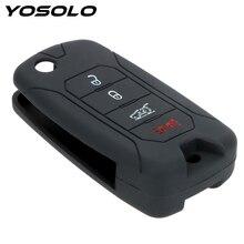 YOSOLO 실리콘 자동차 키 지프 Renegade 2016 키 가방 4 버튼 원격 자동차 키 커버 인테리어 액세서리