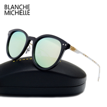 Fashion High Quality Painted Metal Temple Sunglasses Women Polarized UV400 Brand Designer Men Sun Glasses Mirror Lens With box