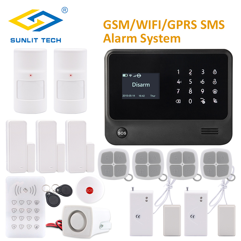 GSM/WIFI/GPRS SMS Alarm System Security Home Emergency Burglar Alarm with Pet PIR Detector Water Leak Sensor and SOS Button free shipping wireless sms water leak alarm water flooding sensor of gsm smart home alarm security system for android wl 100