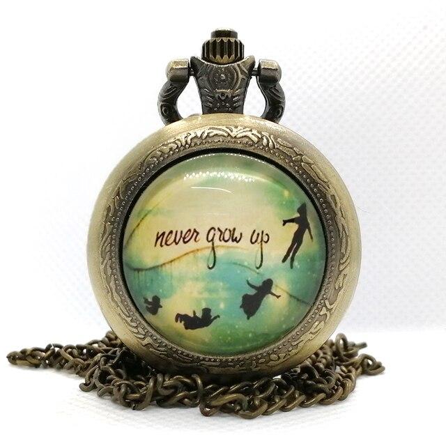 new Fashion The Peter Pan Never Grow Up Quartz Pocket Watch Analog Pendant Neckl