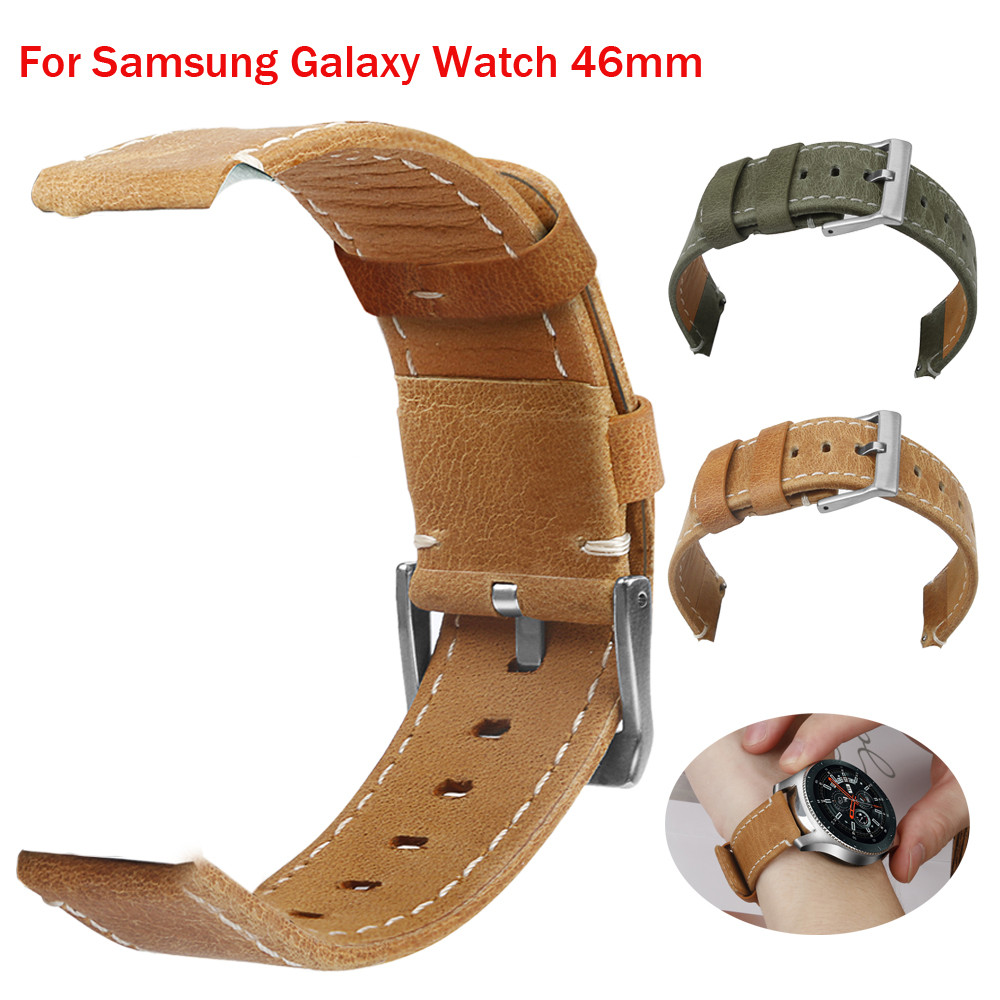 все цены на New Luxury Leather Band Bracelet Watch Band For Samsung Galaxy Watch 46mm watchbands genuine leather nato strap gear s3 classic онлайн