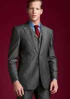 Side Vent Groom Tuxedo Gray Groomsmen Notch Lapel Wedding/Dinner Suits Best Man Bridegroom (Jacket+Pants+Tie+Vest) B216