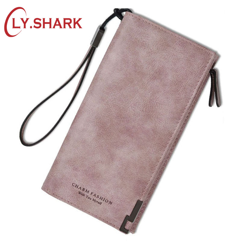 LY.SHARK Long PU Leather Women Wallet Female Purse Coin Pocket Credit Card Holder Lady Clutch Money Bag Phone Walet Perse large capacity women wallet leather card coin holder money clip long clutch phone wristlet trifold zipper cash female purse
