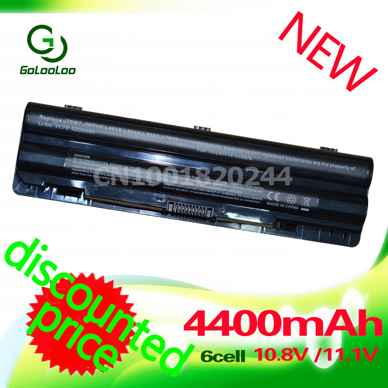 Golooloo 4400mAh Laptop Battery for Dell XPS L401x L702x 14 15 17 L501x L701x L502x 312-1123 312-1127 J70W7 JWPHF R795X WHXY3 11 1v 90wh original battery for dell xps15 xps14 xps17 l702x l502x j70w7 r795x genuine xps14 xps15 high capacity battery 9 cell