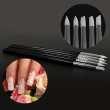 Nail Brush 5 Pcs/Set Professional Gel Nails Pen Brushes Soft Silicone Emboss Pen Brush Set for Manicure Tool