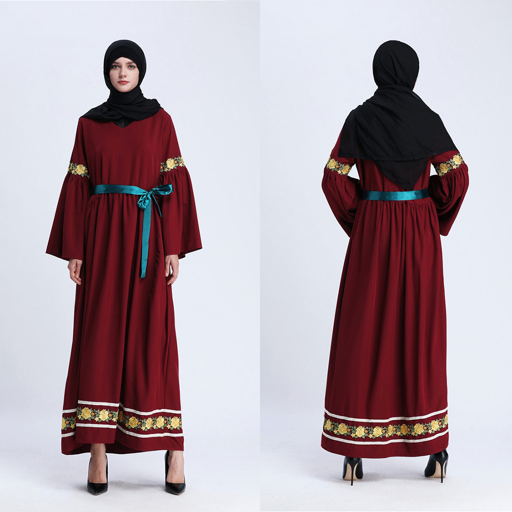 Jalabiya islamique femmes robe vêtements Robe musulmane Maxi robe manches trompette Abaya longue jupe Robe robes tunique BeltY56