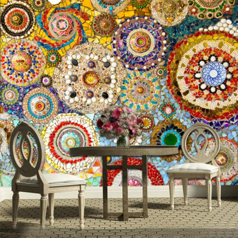 Kundenspezifische Große Wandbild Mosaik Fliesen Ziegelsteinmuster  Amerikanischen Retro Abstrakte Tapete Für Wohnzimmer TV Hintergrund 3d