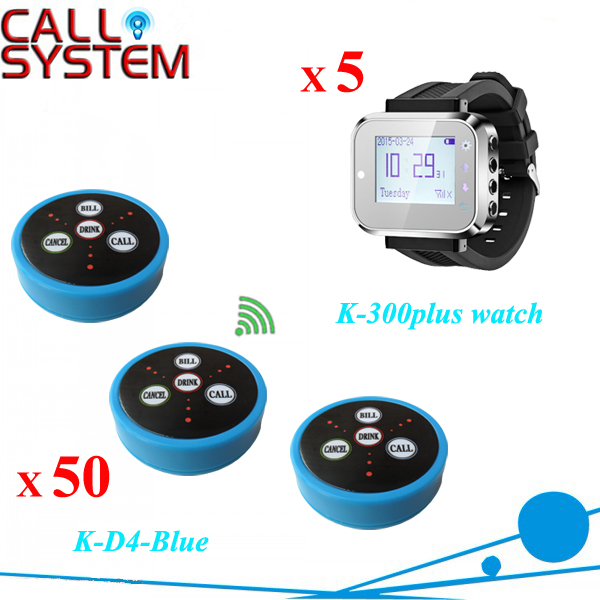 1 set Wireless Call Button System for restaurant service 5 hand watch receiver 40pcs alarm bell