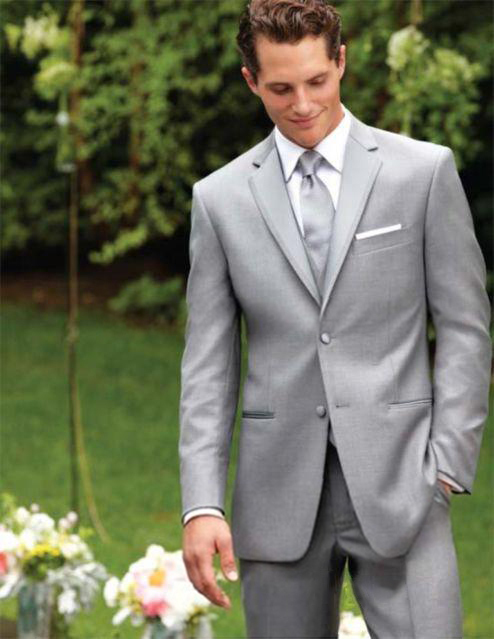 Custom Made Two Buttons Light Grey Groom Tuxedos Notch Lapel Best Man Suits Groomsmen Men Wedding Suits (Jacket+Pants+Vest+Tie)