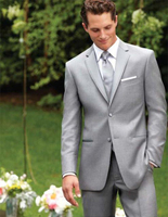 Custom Made Two Buttons Light Grey Groom Tuxedos Notch Lapel Best Man Suits Groomsmen Men Wedding Suits (Jacket+Pants+Vest+Tie)
