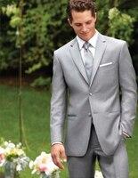 Custom made twee knoppen light grey bruidegom tuxedos notch revers best man suits bruidsjonkers mannen wedding suits (jas + broek + vest + tie)