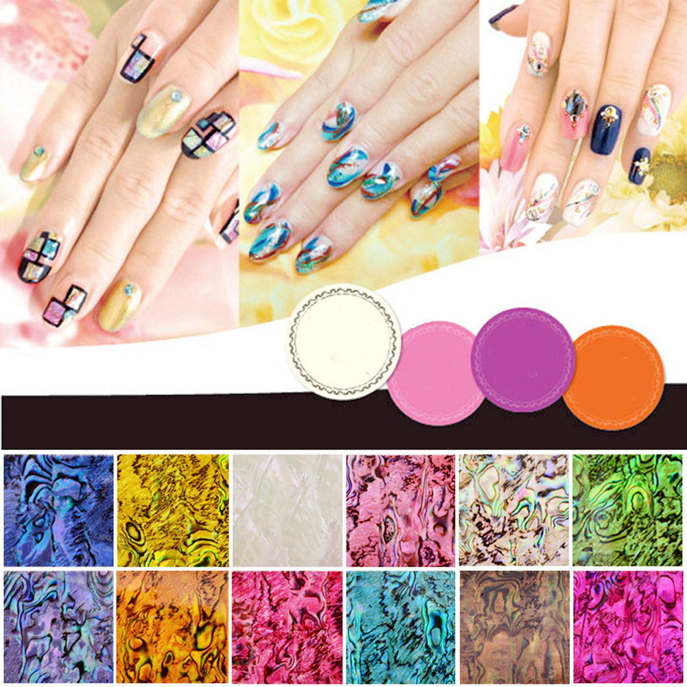 1/10pcs Mix Colors Ultrathin Nail Art Transfer Stickers Shell Pattern Manicure Tips Decal Shiny Star Design DIY 12 colors 3mm waterdrop rhinestone nail art salon stickers tips diy decorations with wheel chic design 5gpn