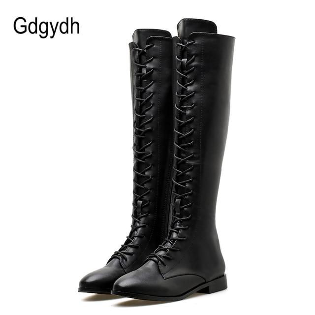 Gdgydh 2018 Kış Diz Yüksek Çizmeler Kare Topuklu Kadın Deri Patik Ayakkabı Kadın Bağlama Sonbahar Bayanlar Ayakkabı Platformu Topuklu