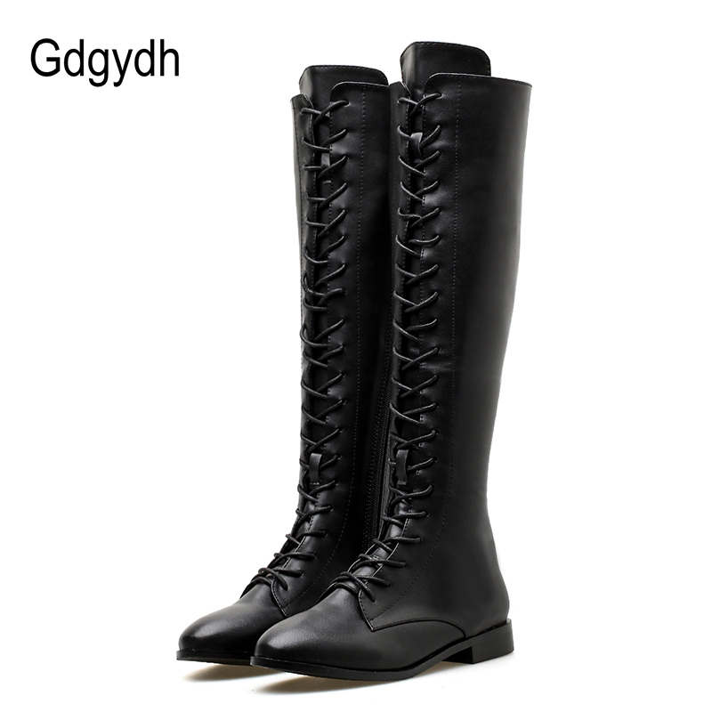 Gdgydh 2018 Winter Knee High Boots Square Heels Women Leather Booties Shoes Female Lacing Autumn Ladies Shoes Platform Heels gdgydh women platform heels ankle boots zipper high heels female booties shoes black round toe ladies shoes big size 2018 autumn