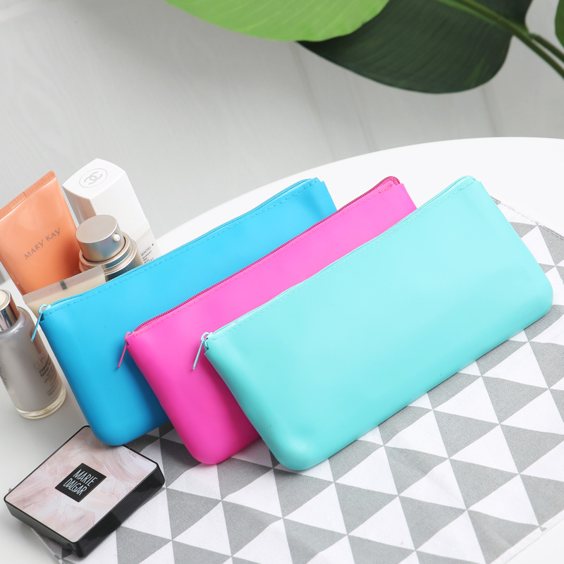 Fresh Simple Pencil Case Student School Pencil Case Silicone Stationery Bag Cosmetic Bag Small Object Storage Bag