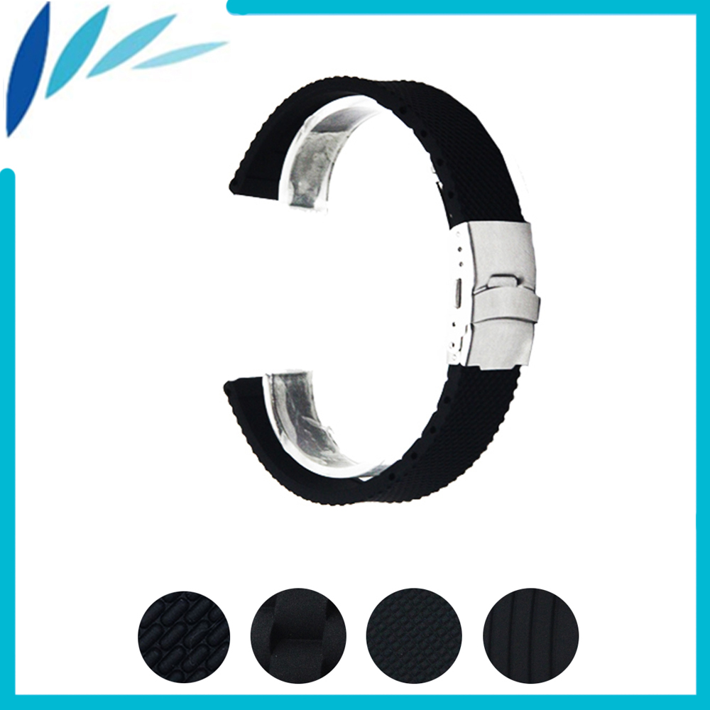 Silicone Rubber Watch Band 20mm for Samsung Gear S2 Classic R732 / R735 Stainless Steel Clasp Strap Wrist Loop Belt Bracelet 5 colors magnetic closure clasp milanese loop watch band for samsung galaxy gear s2 classic stainless steel strap bracelet