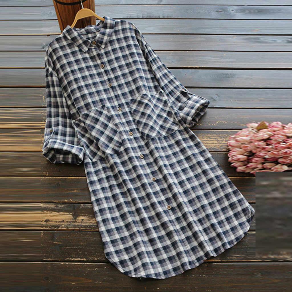 Женское клетчатое Повседневное платье с длинными рукавами, платье с карманами и пуговицами, мини-платье-рубашка, большие размеры, женские винтажные платья