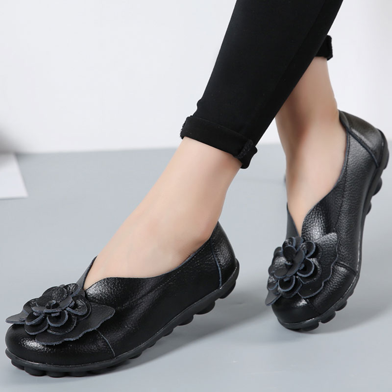 Women Ballet Flats Genuine Leather Flower Loafers Ballerina Slip On Round Toe Casual Shoes Size 35-44 Zapatos Mujer nillkin protective pu leather pc case cover for huawei honor 3x g750 black