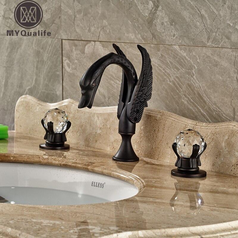 Роскошные двух cristal ручки Ванная комната кран лебедь Форма широкое бортике бассейна смесители