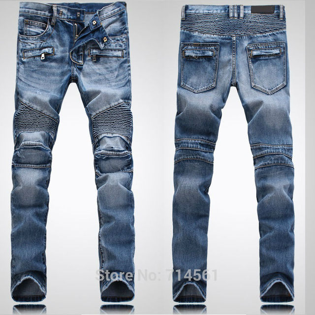 2af91031321 famous brand Balman Jeans NWT BP Men s Fashion Runway Biker Slim Washed  Jeans Denim Pants Eur Size 28-38 H1378