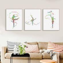 Акварельная художественная гимнастика плакаты принты девушка комната стены Искусство Холст Живопись