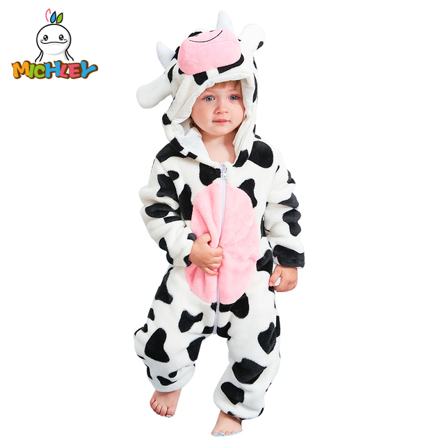 MICHLEY Unisex Baby Hooded Romper Winter and Autumn Flannel Animal Style Newborn Boys Cosplay Clothes Girls Pajamas XYZ-Cow
