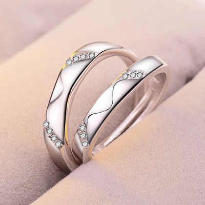 1 Set Verkaufen einstellbare liebhaber Zirkon Engagement Ringe für Frauen silber Farbe Hochzeit Ringe Österreichischen Kristalle Schmuck T1
