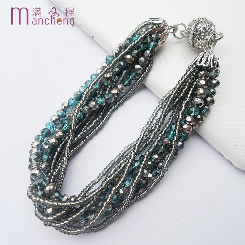 Multicolor Malachite Green Crystal Beads Weave Tassel Multilayer Steampunk Magnet Statement Vintage Bracelets jewelry For Women