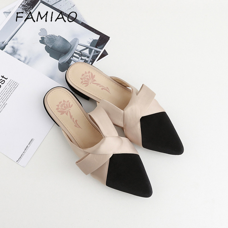 FAMIAO Parkside Wind Women Slippers Velvet Butterfly-knot Women Sandals Pointed Toe Bowtie Flats Mules Summer Ladies Shoes