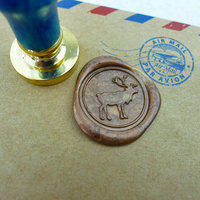 Deer Wax Seal Stamp Gold Plated Stamp Seal Wooden Animal Stamp