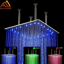 Luxury 20 inch 50cm LED Changing Chrome Rainfall Shower Head Square Bathroom Shower Faucet Accesories Top Over Sprayer