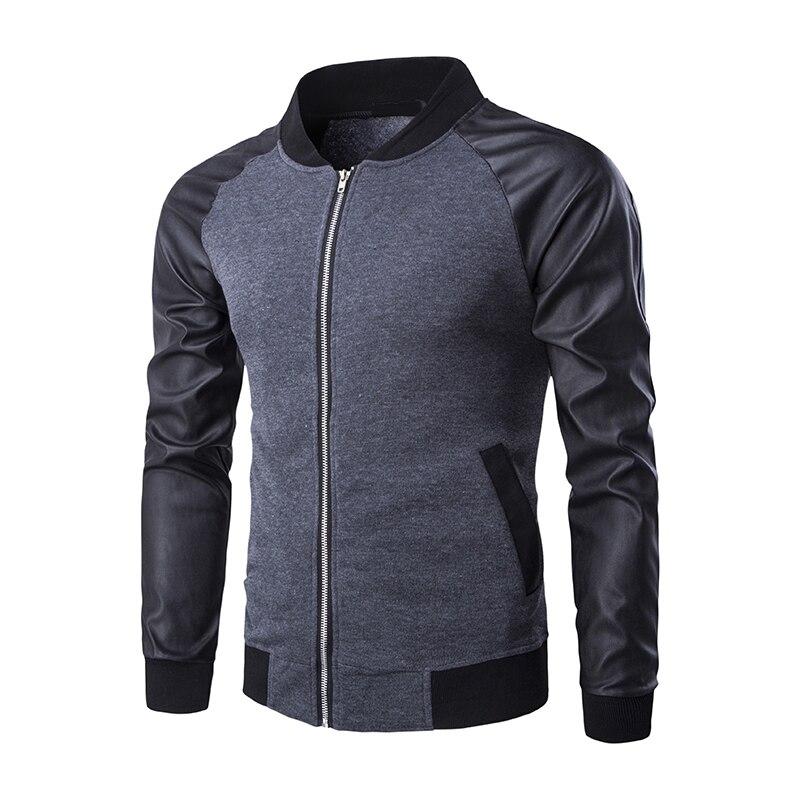 ZOGAA Slim Fit sport décontracté vestes de Baseball en cuir PU manches hommes Bomber veste manteau mode élastique vêtement de motard