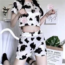 купить Tracksuit Women Sets 2 Two Piece Skirt Set Club Outfits Top And Pants Milk Cow Pattern Print Crop Top + Biker Shorts Skirt дешево