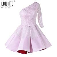 Hot Sale Pink One Shoulder 3 4 Sleeve Colorful Short Prom Dresses Lace Party Dress Vestido