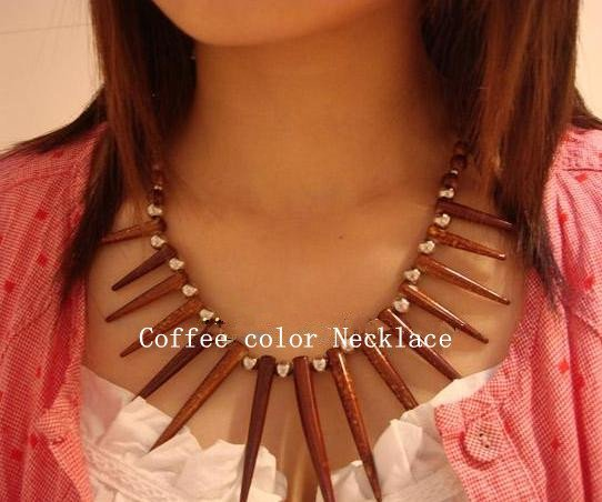 NEW ARRIVE Popular Tibetan Jewelry Nepal Fashion Coffee Gem Needle Tip Shape Ladies' Necklace all-match Jewelry