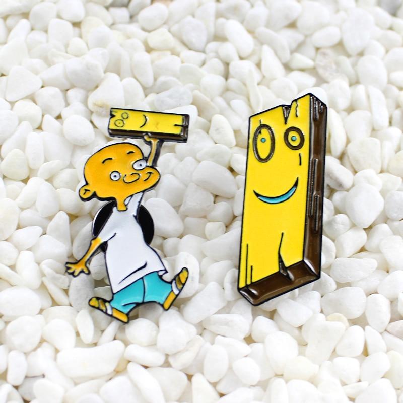 Anime Karakter Kartun Kecil Kepala Botak Lucu Blok Kayu Enamel Bros Keren Anak Laki Laki Kepribadian Badge Kuning Denim Pin Aliexpress