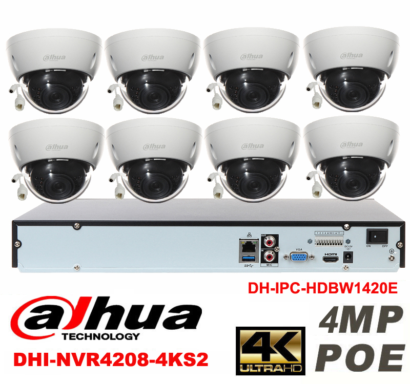 Dahua original 8CH 4MP H2.64 DH-IPC-HDBW1420E 8pcs Network camera POE DAHUA DHI-NVR4208-4KS2 Dome IP CCTV security camera kit видеокамера ip dahua dh ipc hdbw2220rp zs 2 7 12мм 1 2 8 1984x1225