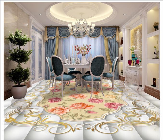 ФОТО 3d photo wallpaper custom mural pvc bathroom floor painting The pattern retro rose  self-adhesion floor wallpaer