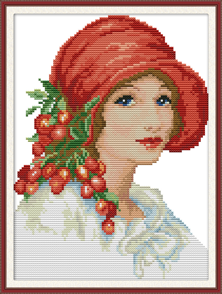 White Tiger and Lady Counted Cross Stitch Pattern