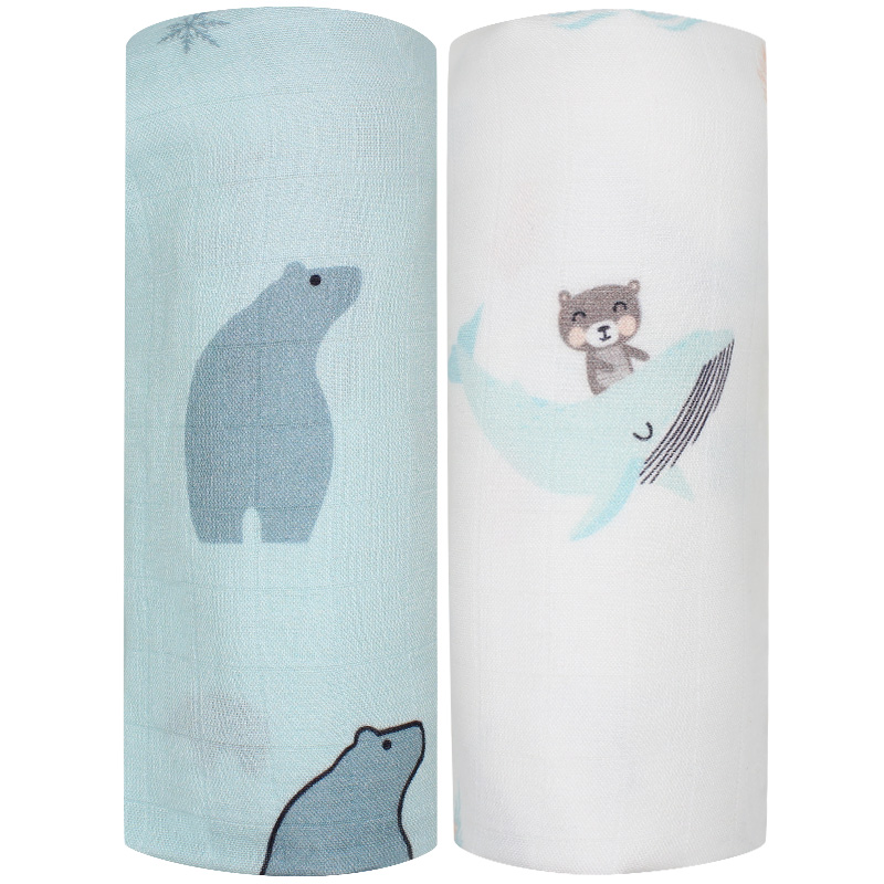 2pcs Set Bamboo Cotton Muslin Baby Swaddles 120x120cm Newborns Baby Blankets Multifunctional Infant Gauze Bath Towel Hold Wraps