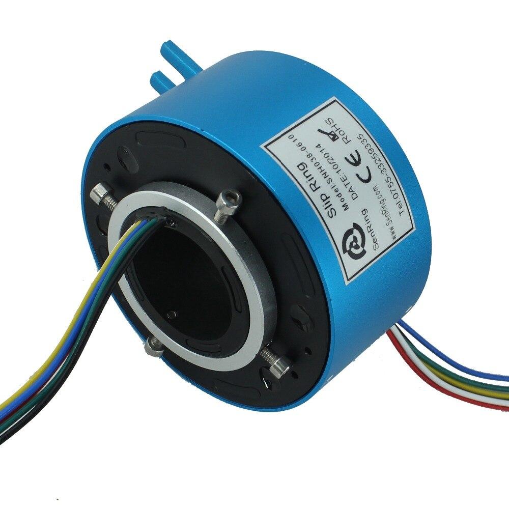 Contatto elettrico rotante diametro 38.1mm (1.5 '') attraverso il foro slip ring 2 circuiti 10A 4 circuiti di segnale