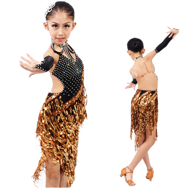 6f01da348e90 High-end Professional Child Stage Competition Latin Costume w/Shining Gold  Sequins Tassels,Girls Salsa/Ballroom/Jazz Dance Dress