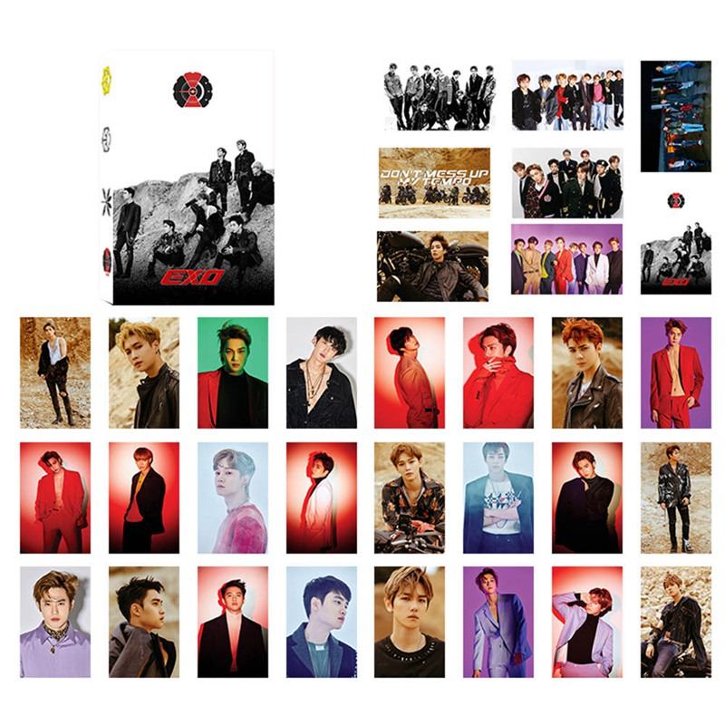 32Pcs Set font b KPOP b font EXO Album Self Made Paper Lomo Card Photo Card