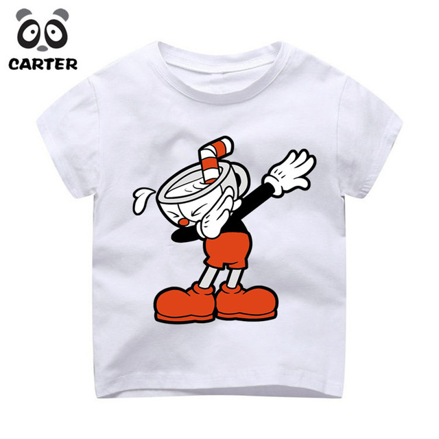 7744798ef Funny Dabbing Cuphead Game Cartoon Design T shirts For Boy and Girl ...