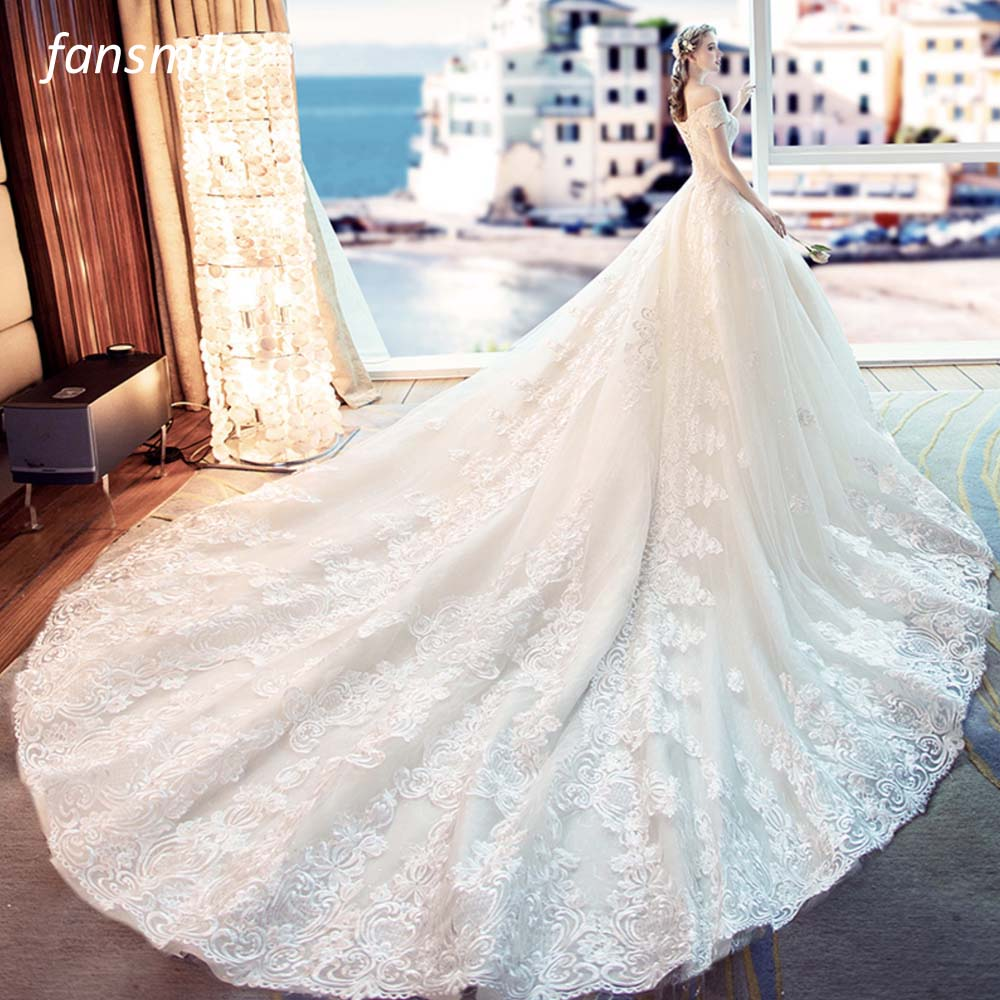 Fansmile Tulle Mariage Vestido De Noiva Lace Wedding Dresses 2019 Train Plus Size Customized Wedding Gowns Bridal Dress FSM-461T