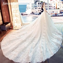 Fansmile Tulle Mariage Vestido De Noiva Lace Wedding Dresses 2020 Train Plus Size Customized Wedding Gowns Bridal Dress FSM 461T