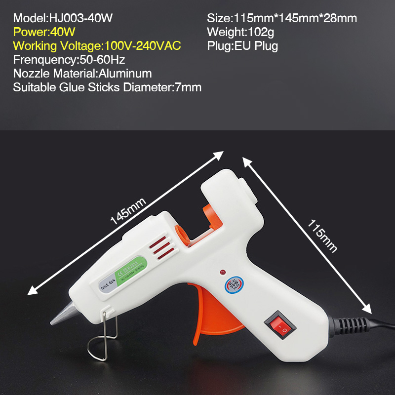 Free Shipping 40W Glue Gun Set Electric Heat Hot Melt Crafts Repair Tool Professional DIY 110 240V 40W Gift in Glue Guns from Tools