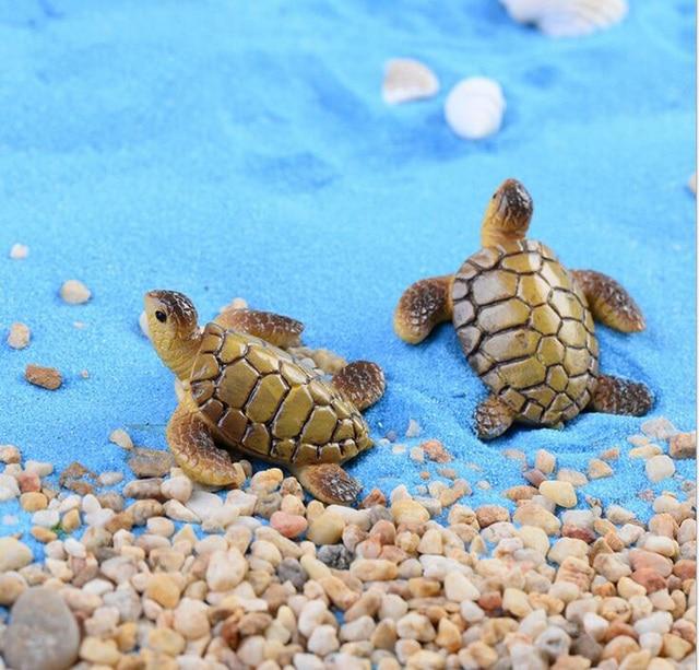 Seaside Turtle Figurine Animal Miniature Figures decoration fairy garden Cake Car cartoon animal statue resin craft